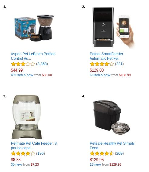 Typiske populære kattemater-modeller på Amazon. For store for mitt behov.