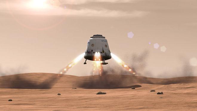 """Romkapselen """"Red Dragon"""" utvikles nå av SpaceX. Hensikten er å sende den til Mars i 2018."""
